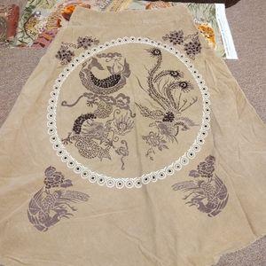 Miss Me Tan Phoenix Embellished Curduory Skirt L
